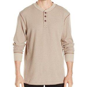 Wrangler Tan Long Sleeve Waffle Henley Shirt